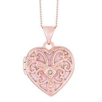 9ct Rose Gold Diamond Filigree Heart Locket - Product number 4081668