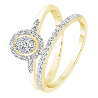 9ct Yellow Gold 1/4ct Diamond Perfect Fit Bridal Set - Product number 4087089