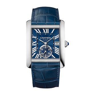 Cartier Tank Men's Stainless Steel Blue Dial Strap Watch - Product number 4088328