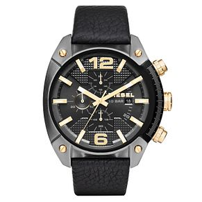 Diesel Overflow Chronograph Men's Black Leather Strap Watch - Product number 4088360
