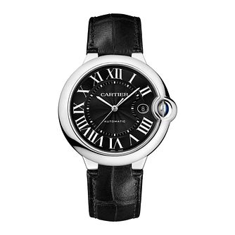 Cartier Ballon Men's Stainless Steel Black Dial Strap Watch - Product number 4088557