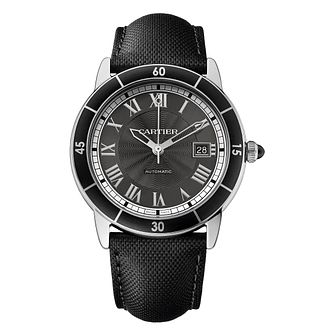Cartier Ronde Men's Stainless Steel Black Dial Strap Watch - Product number 4088581