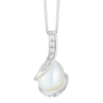 9ct White Gold Diamond Wrap Pearl Pendant - Product number 4090446