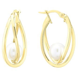 9ct Yellow Gold Oval Double Creole Pearl Earrings - Product number 4091744