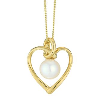 9ct Yellow Gold Cultured Freshwater Pearl Heart Pendant - Product number 4092716