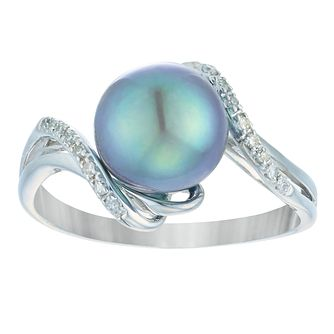 9ct White Gold Cultured Freshwater Pearl Diamond Ring - Product number 4092783