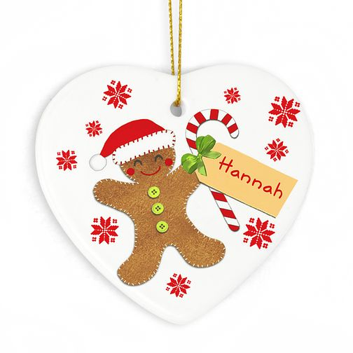 Felt Stitch Gingerbread Man Ceramic Heart - Product number 4096061