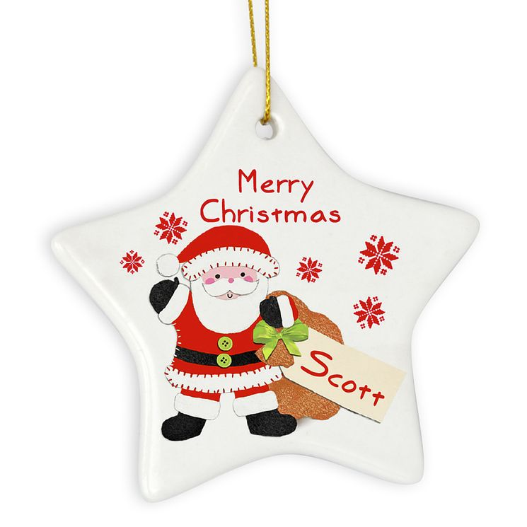 Felt Stitch Santa Ceramic Star Decoration - Product number 4096096