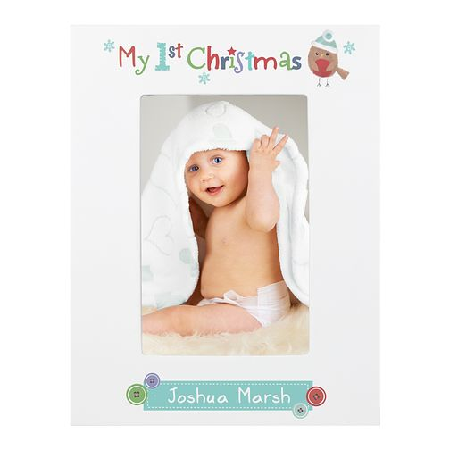 Felt Stitch Robin My 1st Christmas 6x4 White Wooden Frame - Product number 4096584