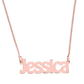 Rose Gold Plated Silver Jessica Nameplate Necklace - Product number 4105214