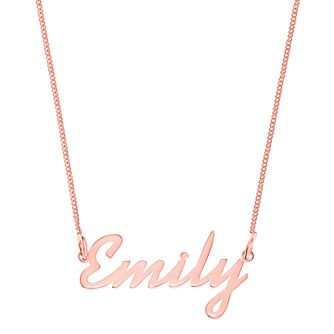 Rose Gold Plated Silver Emily Italics Nameplate Necklace - Product number 4105591