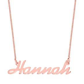 Rose Gold Plated Silver Hannah Italics Nameplate Necklace - Product number 4105656