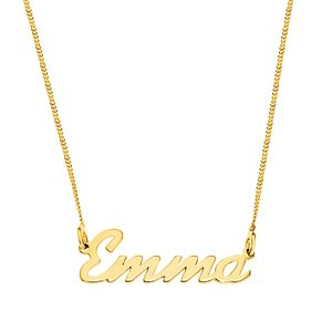 Gold Plated Silver Emma Italics Nameplate Necklace - Product number 4106040