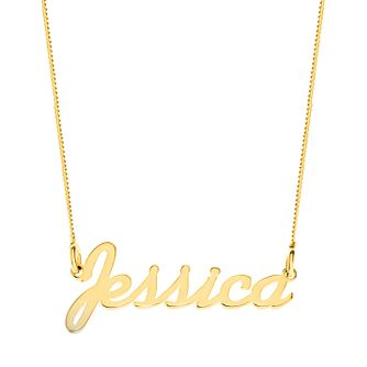 Gold Plated Silver Jessica Italics Nameplate Necklace - Product number 4106482