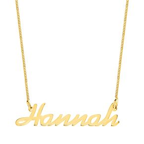 Gold Plated Silver Hannah Italics Nameplate Necklace - Product number 4106644