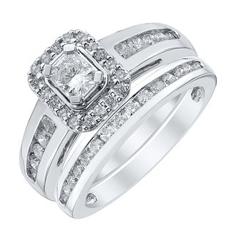 Platinum 1ct Radiant Cut Diamond Halo Bridal Set - Product number 4110668