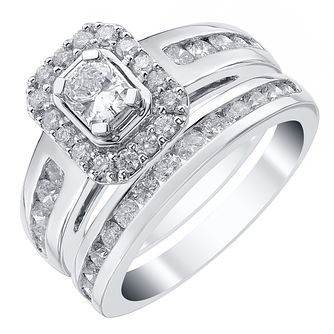 Platinum 1.5ct Radiant Cut Diamond Halo Bridal Set - Product number 4110838