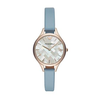 Emporio Armani Ladies' Rose Gold Tone Blue Strap Watch - Product number 4115058