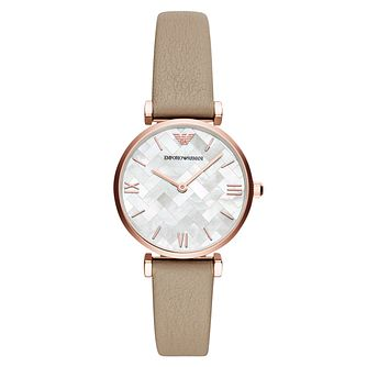Emporio Armani Ladies' Rose Gold Tone Brown Strap Watch - Product number 4115082