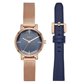 DKNY Soho Ladies' Rose Gold Tone Watch Blue Strap Set - Product number 4116003