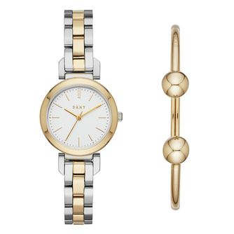 DKNY Ladies' Two Colour Watch and Bracelet Matching Set - Product number 4116070