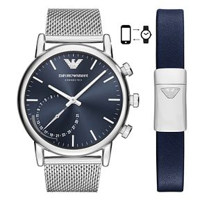 Emporio Armani Men's Blue Bracelet Hybrid Smartwatch Set - Product number 4116615