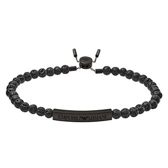Emporio Armani Men's Raw Black Bead Bracelet - Product number 4116895