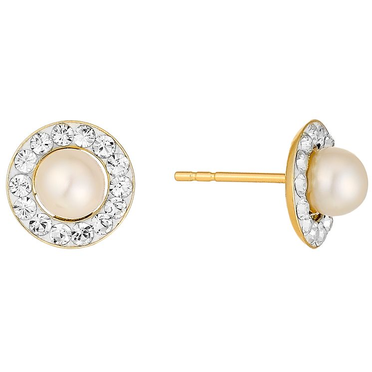 9ct Gold Cultured Freshwater Pearl & Crystal Stud Earrings - Product number 4137426