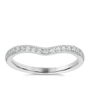 9ct White Gold 0.15ct Claw Set Diamond Shaped Wedding Ring - Product number 4140907