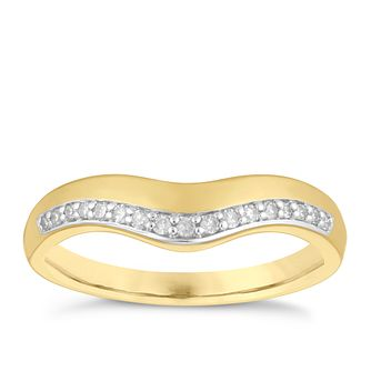 9ct Yellow Gold 0.10ct Diamond Shaped Wedding Ring - Product number 4141180