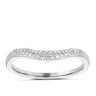 9ct White Gold 0.10ct Double Row Diamond Wedding Ring - Product number 4141334