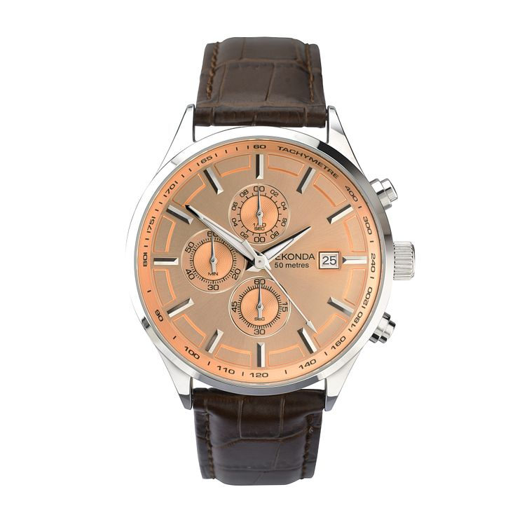 Sekonda Men's Round Rose Dial Brown Leather Strap Watch - Product number 4146018