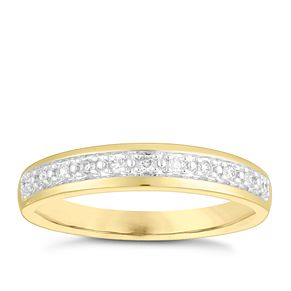 9ct Yellow Gold 0.10ct Pave Diamond Wedding Ring - Product number 4146204