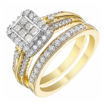 9ct Gold 2/3 Carat Diamond Rectangular Bridal Ring Set - Product number 4153308