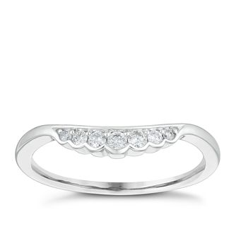 9ct White Gold 0.10ct Seven Diamond Shaped Wedding Ring - Product number 4153316