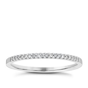18ct White Gold Diamond Claw Set Wedding Ring - Product number 4154843