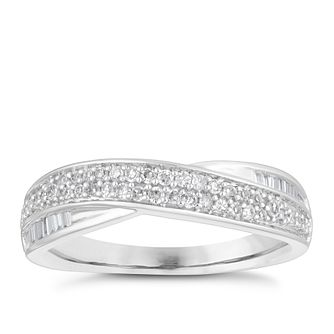 18ct White Gold 0.25ct Diamond Double Row Wedding Ring - Product number 4155300
