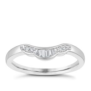 18ct White Gold Shaped Diamond Wedding Ring - Product number 4155777