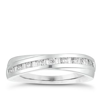 Platinum 0.25ct Diamond Crossover Wedding Ring - Product number 4156293