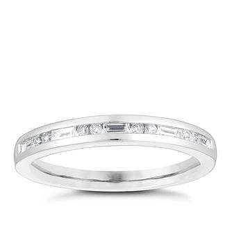 Platinum 0.20ct Round Baguette Diamond Wedding Ring - Product number 4156757