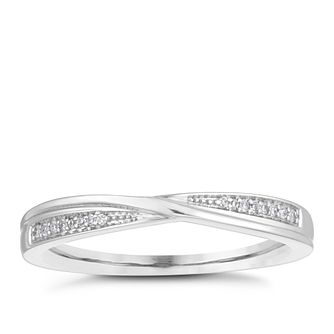 9ct White Gold Diamond Crossover Wedding Ring - Product number 4157249