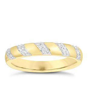 9ct Yellow Gold Diamond Stripe Wedding Ring - Product number 4157435