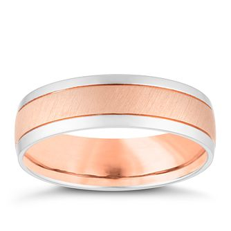 9ct White and Rose Gold Brushed Metal 6mm Wedding Ring - Product number 4159039