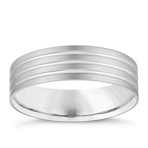 9ct White Gold Matte Triple Row Wedding Ring - Product number 4160061