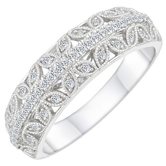 18ct White Gold 0.25ct Diamond Milgrain Wedding Ring - Product number 4160959