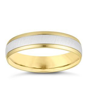 18ct Yellow and White Gold Brushed 5mm Wedding Ring - Product number 4162285