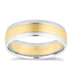 9ct Yellow Gold Palladium Polished Wedding Ring - Product number 4164695