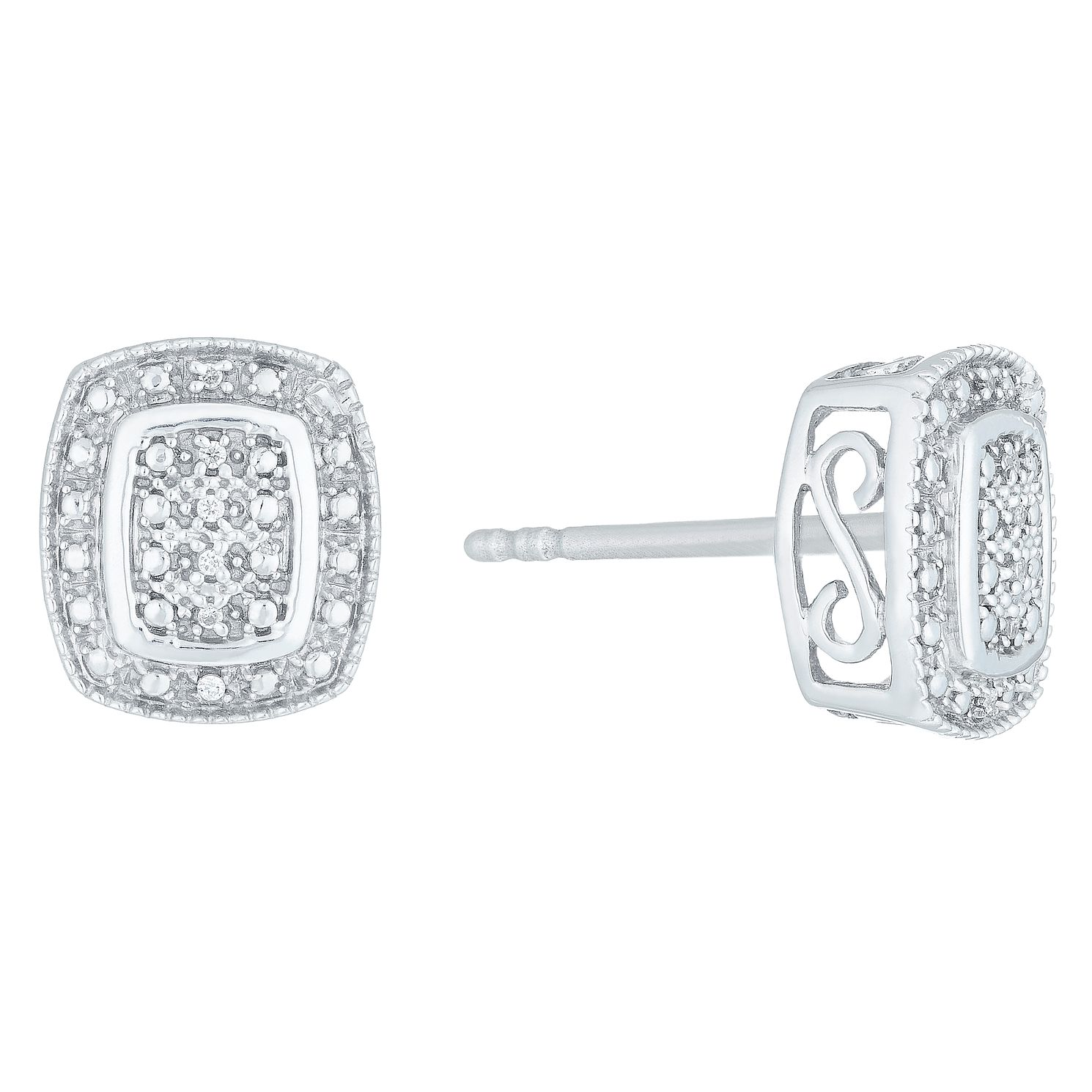 earrings silver bling black square diamond sqrp jewelry az cz screw stud cut princess sterling back