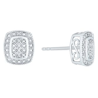 Sterling Silver Diamond Set Cushion Stud Earrings - Product number 4165551