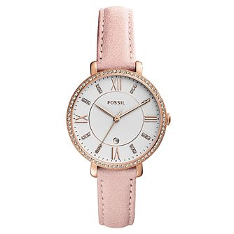 Fossil Jacqueline Ladies' Rose Gold Tone Pink Strap Watch - Product number 4166698